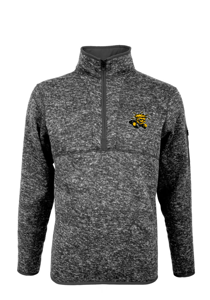 Antigua Wichita State Shockers Mens Grey Fortune Long Sleeve 1/4 Zip Pullover - Image 1