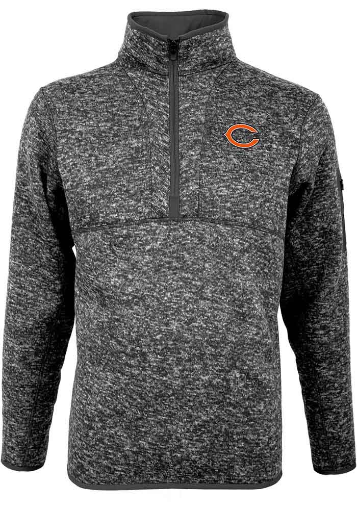 Antigua Chicago Bears Mens Grey Fortune Long Sleeve 1/4 Zip Pullover - Image 1