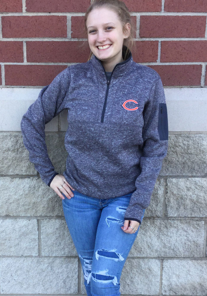Antigua Chicago Bears Mens Grey Fortune Long Sleeve 1/4 Zip Pullover - Image 2