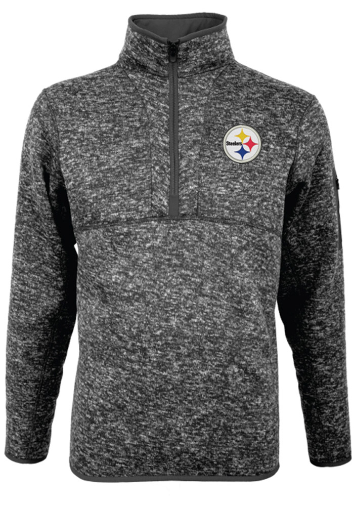 Antigua Pittsburgh Steelers Mens Grey Fortune Long Sleeve 1/4 Zip Pullover, Grey, 100% POLYESTER, Size XL