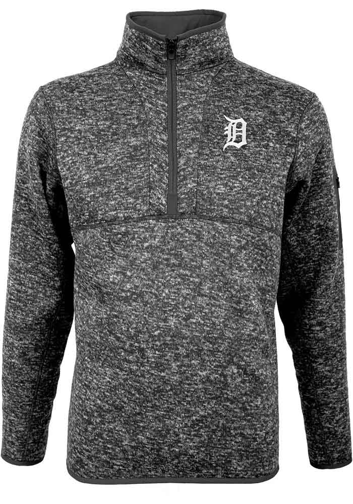 Antigua Detroit Tigers Mens Grey Fortune Long Sleeve 1/4 Zip Pullover - Image 1