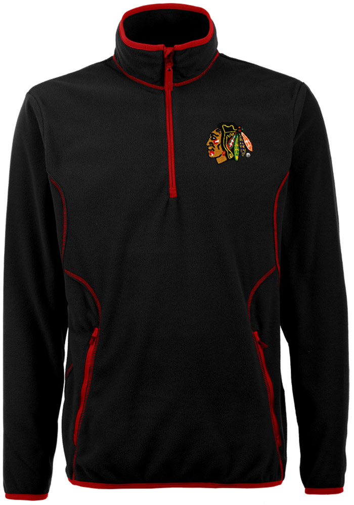 Antigua Chicago Blackhawks Mens Black Ice Long Sleeve 1/4 Zip Pullover - Image 1