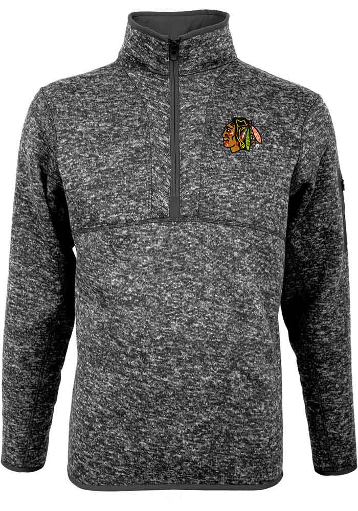 Antigua Chicago Blackhawks Mens Grey Fortune Long Sleeve 1/4 Zip Pullover - Image 1