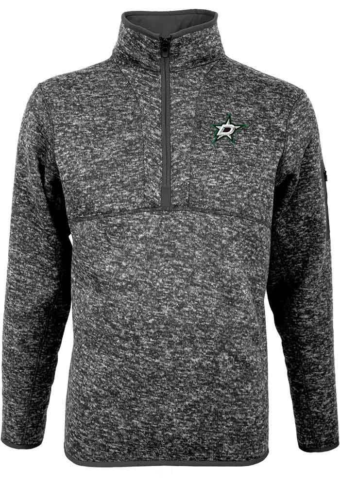 Antigua Dallas Stars Mens Grey Fortune Long Sleeve 1/4 Zip Pullover - Image 1