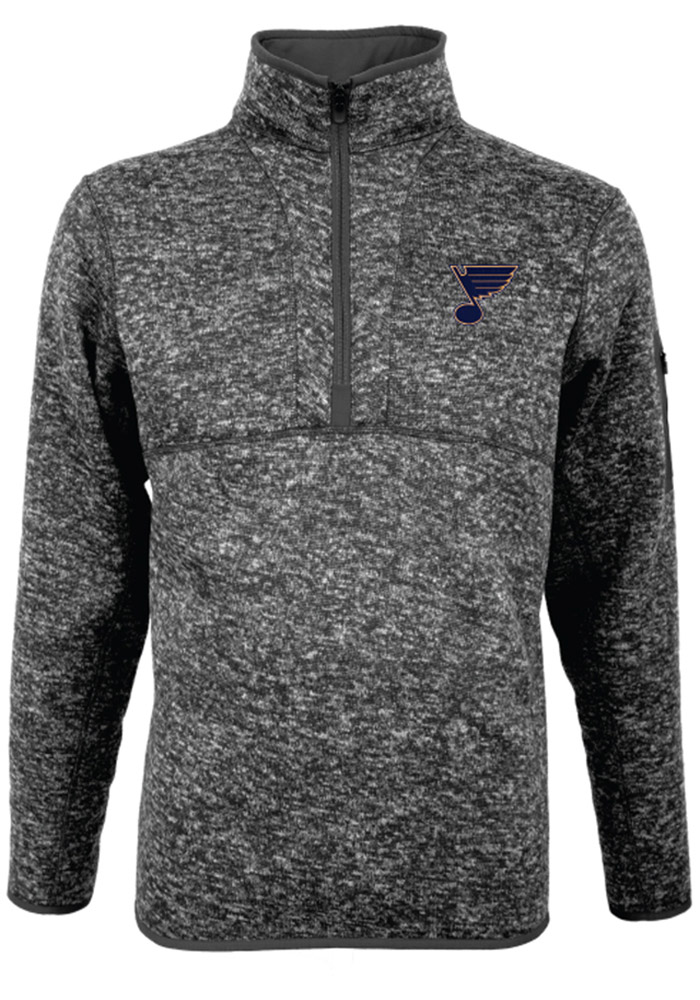 Antigua St Louis Blues Mens Grey Fortune Long Sleeve 1/4 Zip Pullover - Image 1