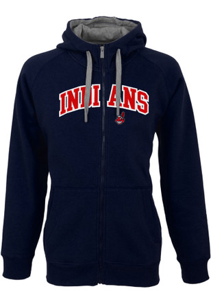 Antigua Cleveland Indians Mens Navy Blue Victory Hoodie