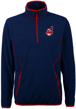Antigua Cleveland Indians Mens Navy Blue Ice 1/4 Zip Pullover