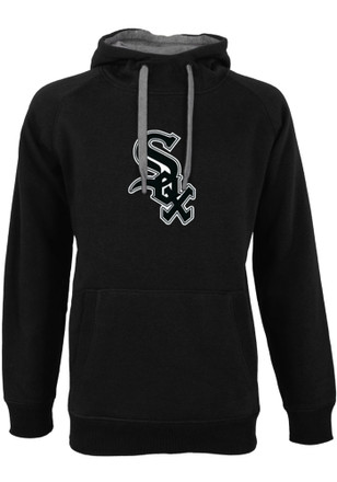 Antigua White Sox Mens Black Victory Hoodie