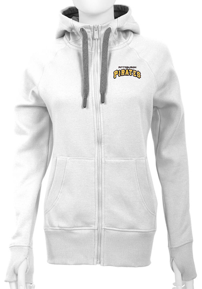 Antigua Pittsburgh Pirates Womens White Victory Long Sleeve Full Zip Jacket - Image 1