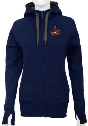 Antigua St Louis Cardinals Womens Navy Blue Victory Full Zip Jacket