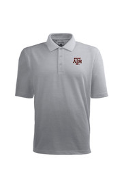 Antigua Texas A&M Mens Grey Pique Xtra-Lite Short Sleeve Polo Shirt