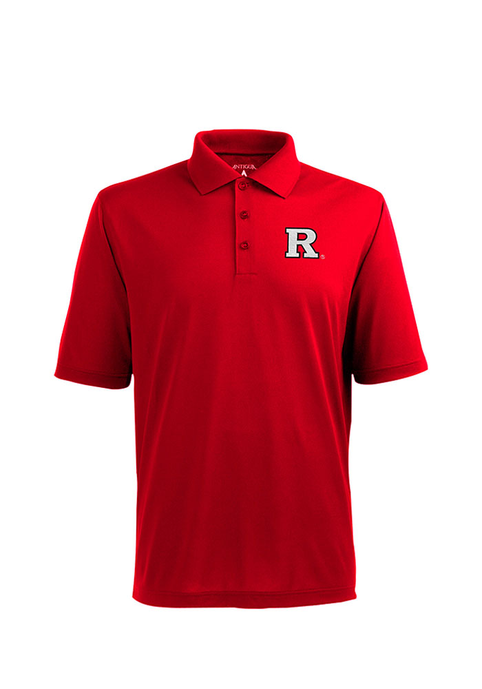 Antigua Rutgers Scarlet Knights Mens Red Pique Xtra-Lite Short Sleeve Polo - Image 1