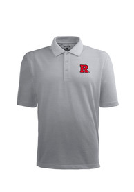 Antigua Rutgers Scarlet Knights Grey Pique Xtra-Lite Short Sleeve Polo Shirt