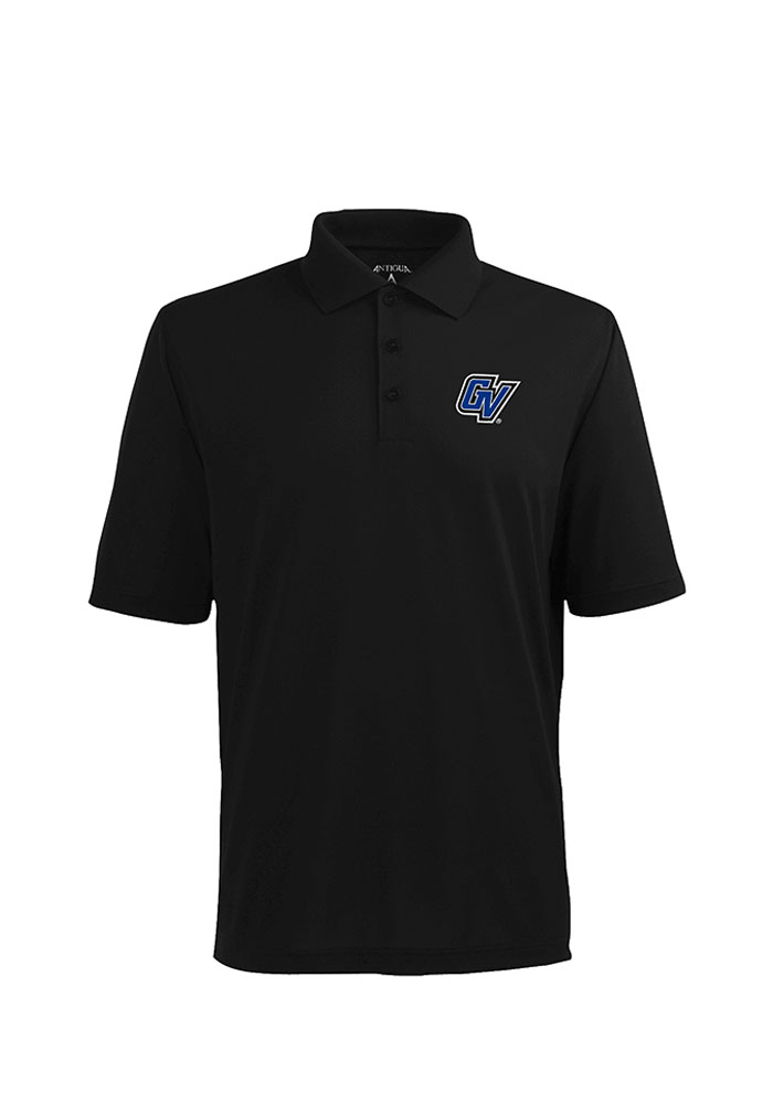 Antigua Grand Valley State Lakers Mens Black Pique Xtra-Lite Short Sleeve Polo - Image 1