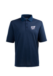 Antigua Washburn Mens Navy Blue Pique Xtra-Lite Short Sleeve Polo Shirt