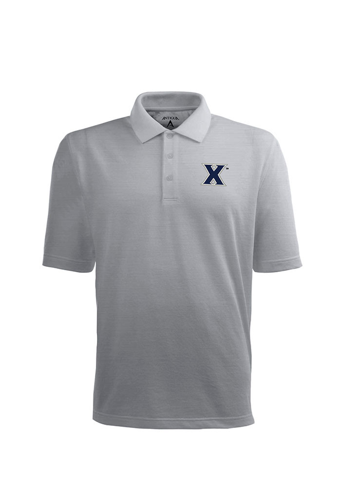 Antigua Xavier Musketeers Mens Grey Pique Xtra-Lite Short Sleeve Polo - Image 1