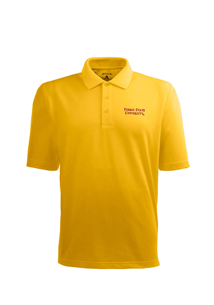 Antigua Ferris State Bulldogs Mens Gold Pique Xtra-Lite Short Sleeve Polo - Image 1