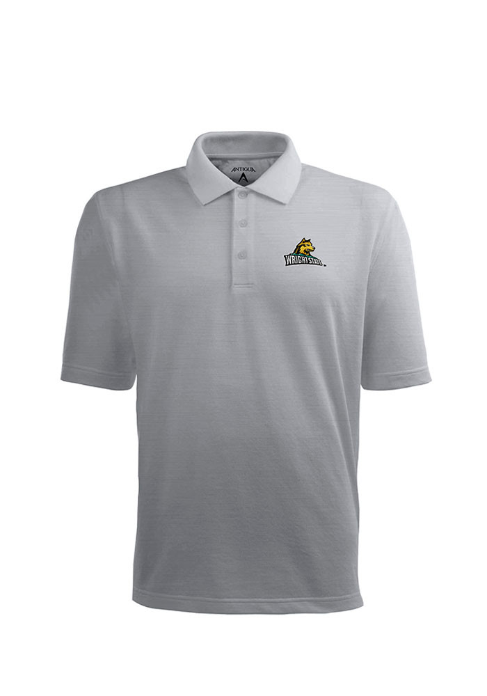Antigua Wright State Raiders Mens Grey Pique Xtra-Lite Short Sleeve Polo - Image 1