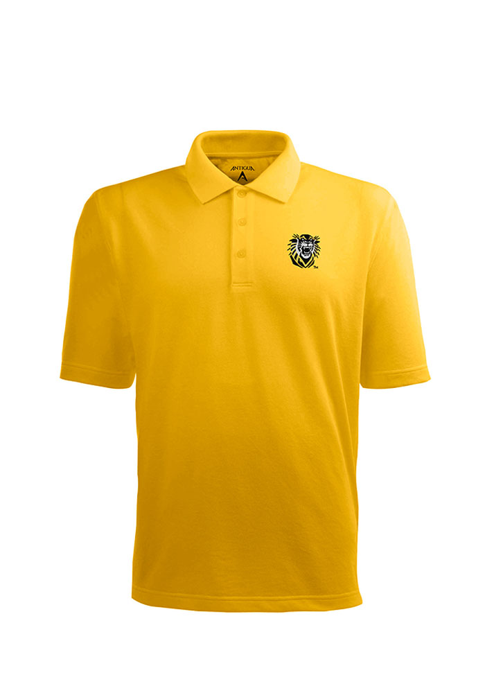 Antigua Fort Hays State Tigers Mens Gold Pique Xtra-Lite Short Sleeve Polo - Image 1