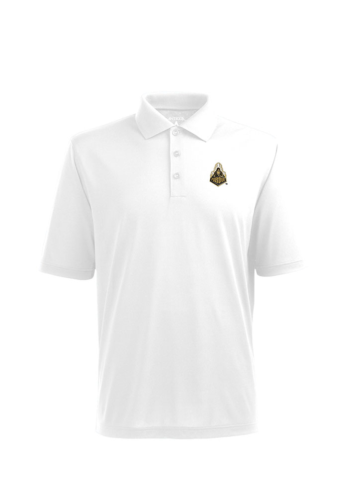 Antigua Purdue Boilermakers Mens White Pique Xtra-Lite Short Sleeve Polo - Image 1