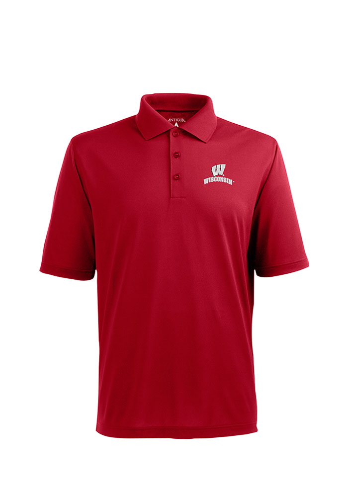 Antigua Wisconsin Badgers Mens Red Pique Xtra-Lite Short Sleeve Polo - Image 1