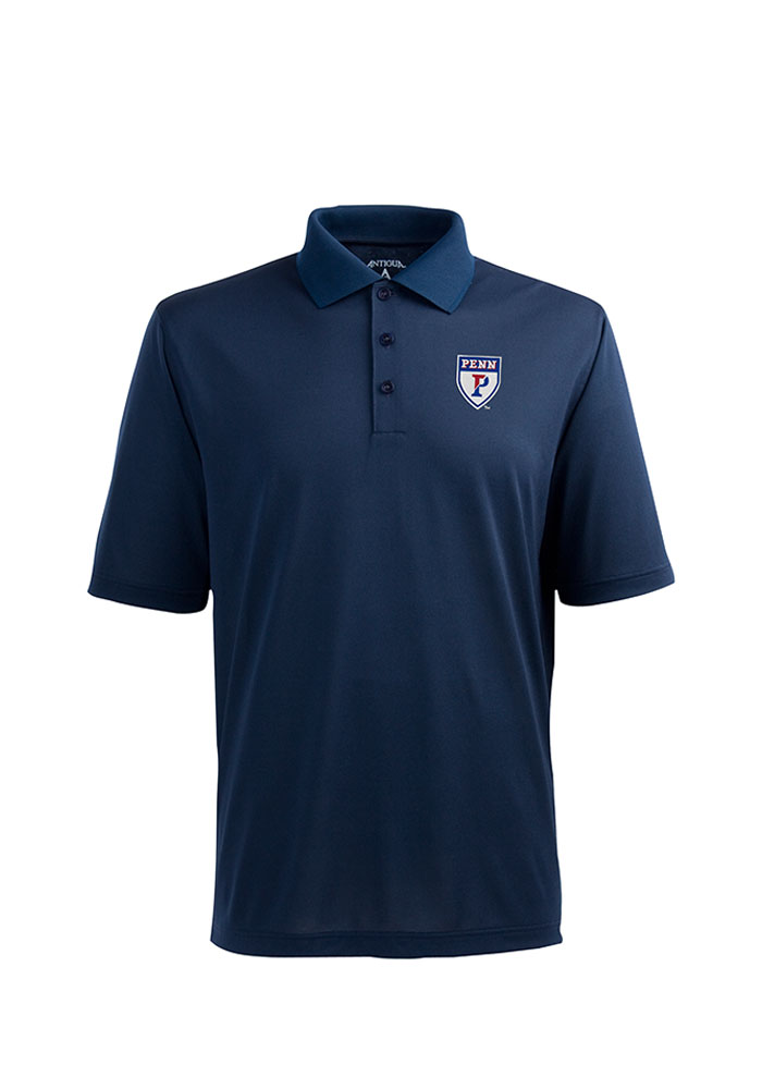 Antigua Pennsylvania Quakers Mens Navy Blue Pique Xtra-Lite Short Sleeve Polo - Image 1
