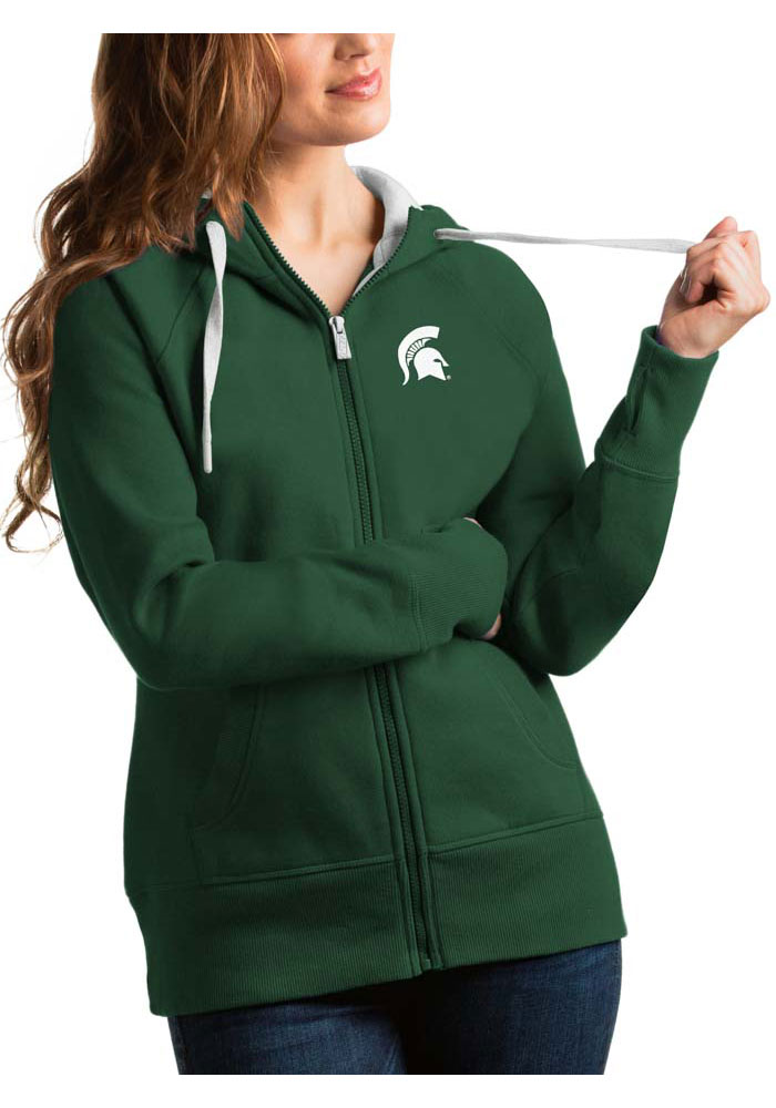 Antigua Michigan State Spartans Womens Grey Victory Long Sleeve Full Zip Jacket - Image 1