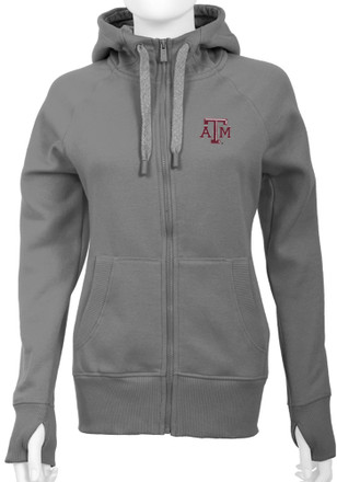 Antigua Texas A&M Womens Grey Victory Full Zip Jacket