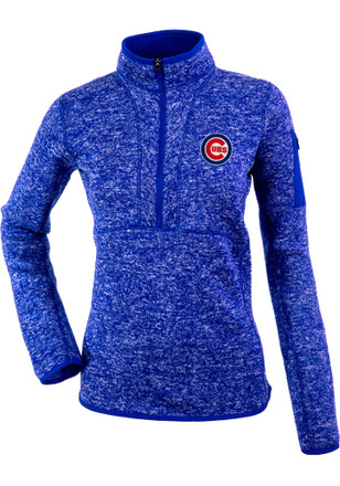 Antigua Chicago Cubs Womens Fortune Blue 1/4 Zip Pullover