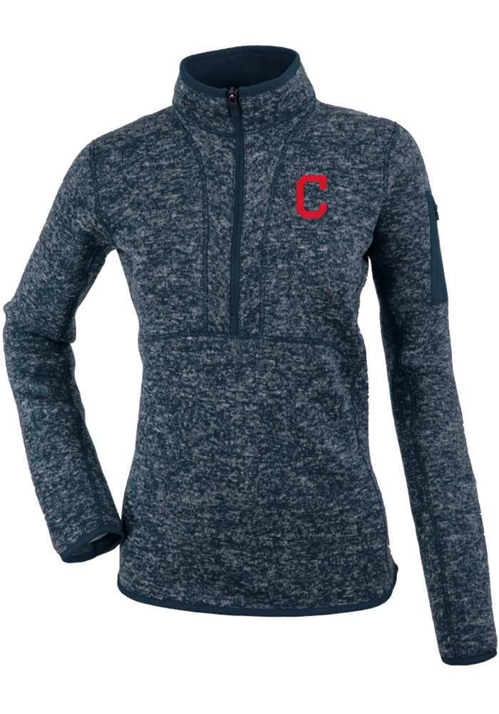 Antigua Cleveland Indians Womens Grey Fortune 1/4 Zip Pullover - Image 1