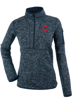 Antigua Cleveland Indians Womens Fortune Grey 1/4 Zip Pullover