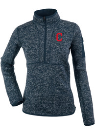 Cleveland Indians Womens Antigua Fortune 1/4 Zip Pullover - Navy Blue