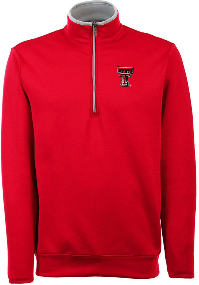 Antigua Texas Tech Red Raiders Mens Red Leader Long Sleeve 1/4 Zip Pullover - Image 1
