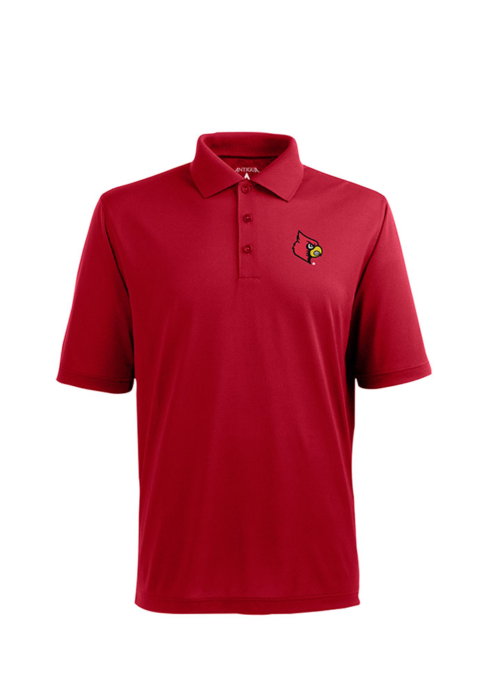 Antigua Louisville Cardinals Mens Red Pique Xtra-Lite Short Sleeve Polo - Image 1
