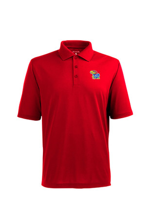 Antigua KU Jayhawks Mens Red Pique Xtra-Lite Short Sleeve Polo Shirt