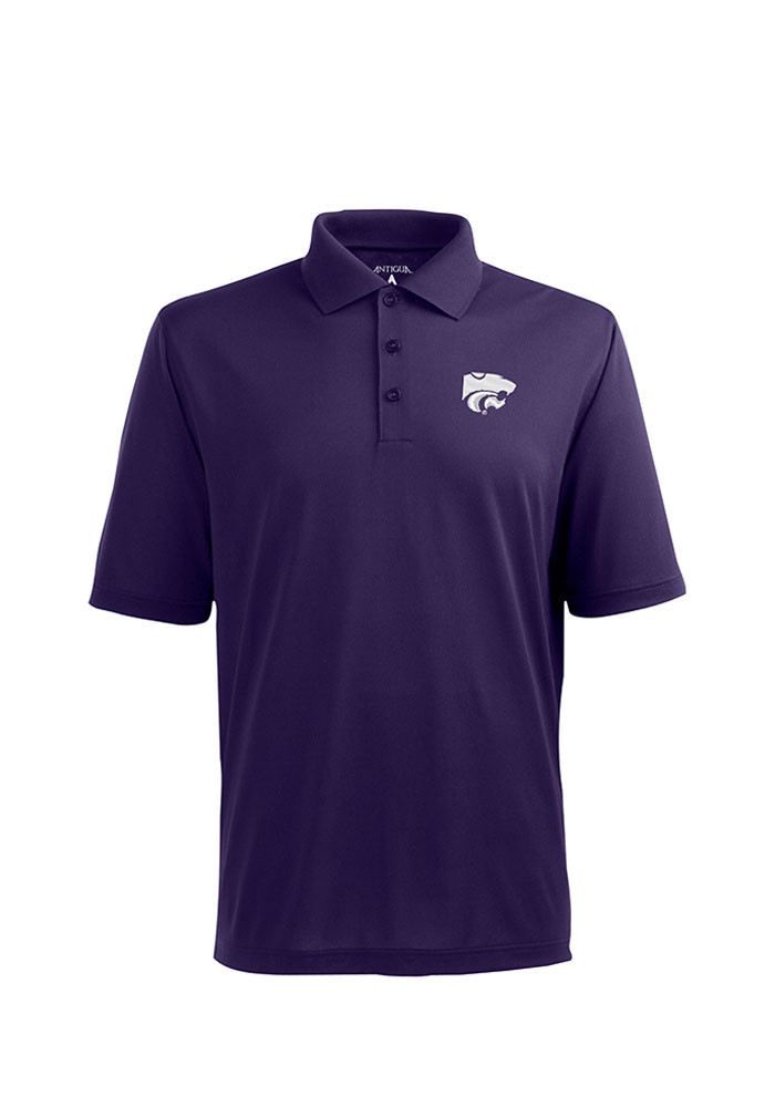 Antigua K-State Wildcats Mens Purple Pique Xtra-Lite Short Sleeve Polo - Image 1