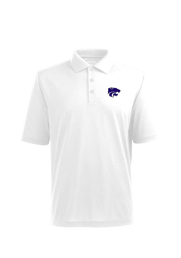 Antigua K-State Wildcats Mens White Pique Xtra-Lite Short Sleeve Polo - Image 1