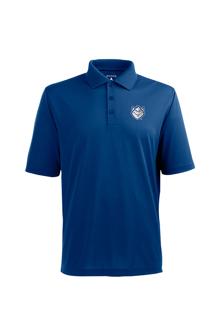 Antigua Saint Louis Billikens Mens Blue Pique Xtra-Lite Short Sleeve Polo - Image 1