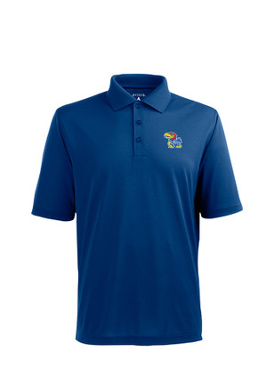 Antigua KU Jayhawks Mens Blue Pique Xtra-Lite Short Sleeve Polo Shirt