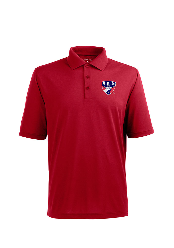 Antigua FC Dallas Mens Red Pique Xtra-Lite Short Sleeve Polo - Image 1