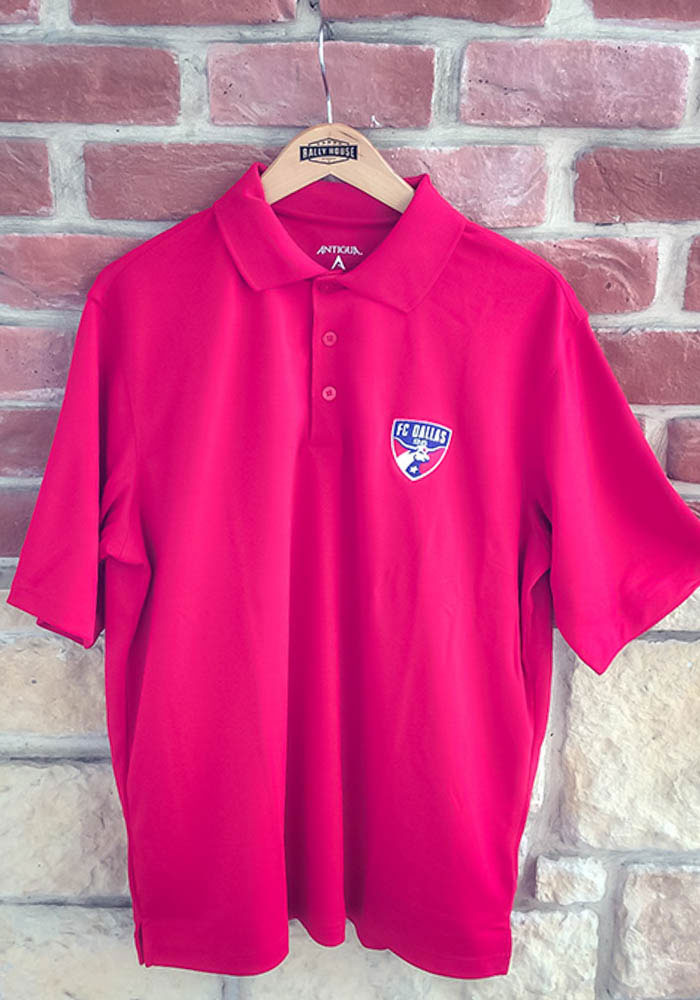 Antigua FC Dallas Mens Red Pique Xtra-Lite Short Sleeve Polo - Image 2