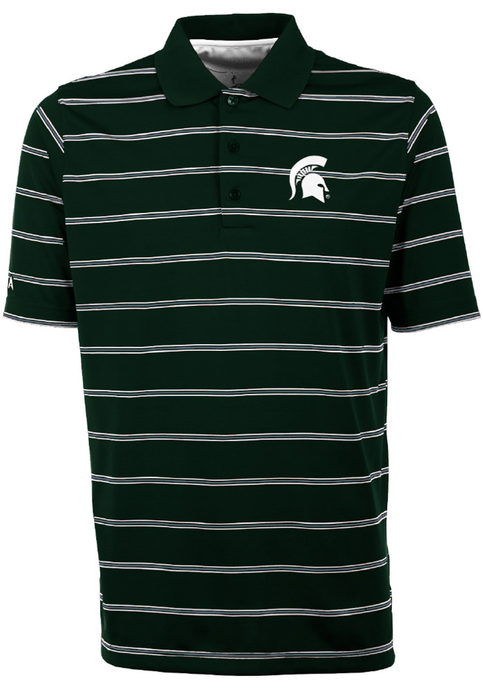 Antigua Michigan State Spartans Mens Green Deluxe Short Sleeve Polo - Image 1