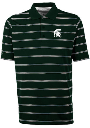 Antigua Michigan State Spartans Mens Green Deluxe Short Sleeve Polo Shirt