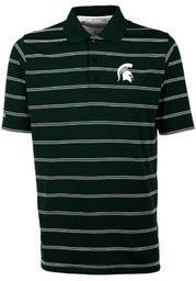 Antigua Michigan State Spartans Mens Green Deluxe Short Sleeve Polo