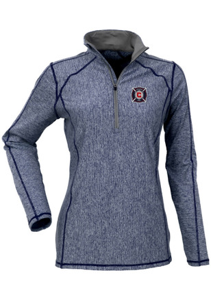 Antigua Chicago Fire Womens Tempo Navy Blue 1/4 Zip Performance Pullover
