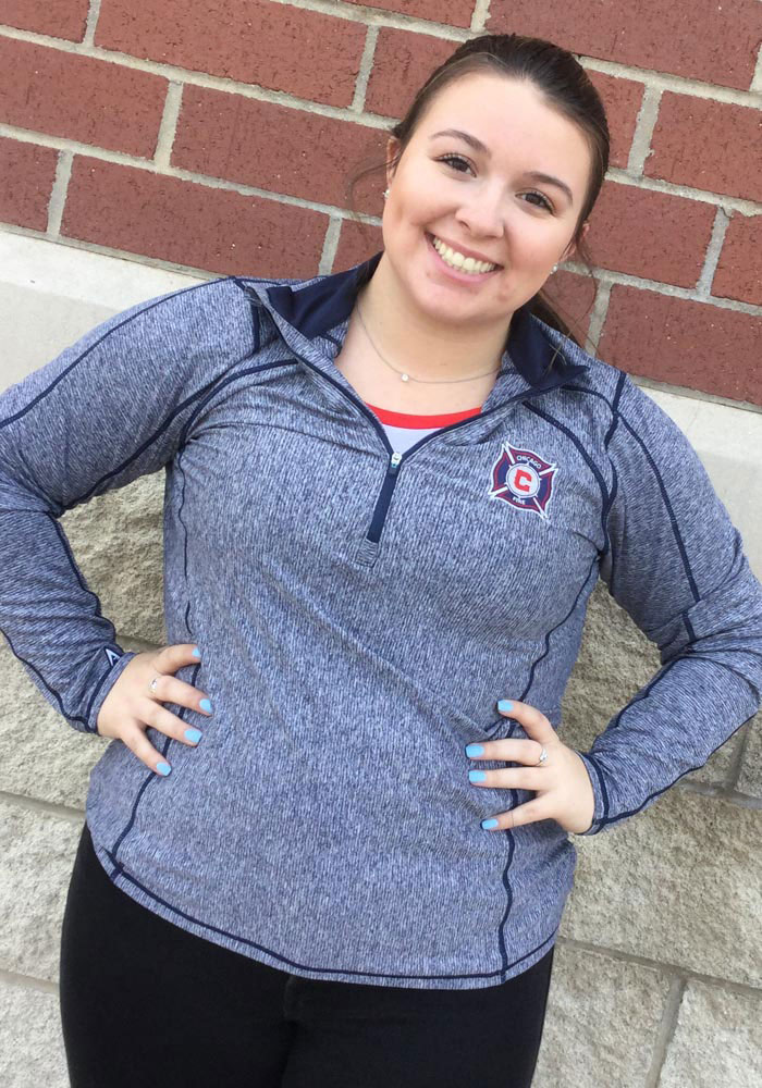 Antigua Chicago Fire Womens Navy Blue Tempo 1/4 Zip Pullover - Image 2