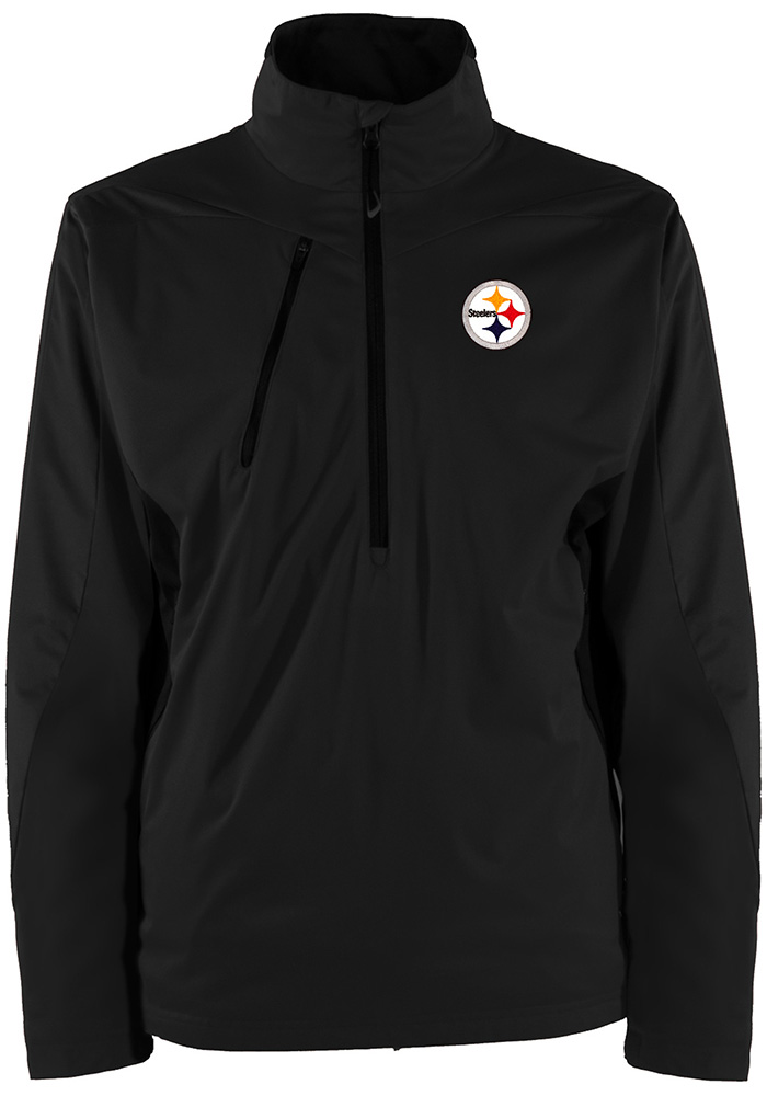 Antigua Pittsburgh Steelers Mens Black Discover Long Sleeve 1/4 Zip Pullover, Black, 100% POLYESTER, Size L