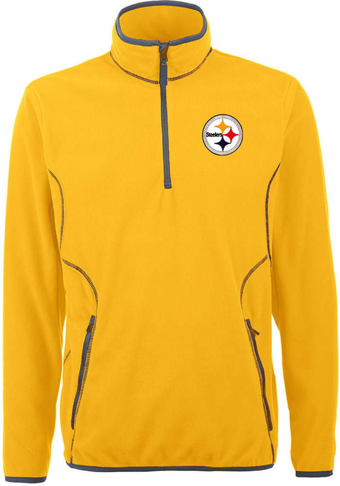 Antigua Pittsburgh Steelers Mens Gold Ice Long Sleeve 1/4 Zip Pullover, Gold, 100% POLYESTER FLEECE, Size XL