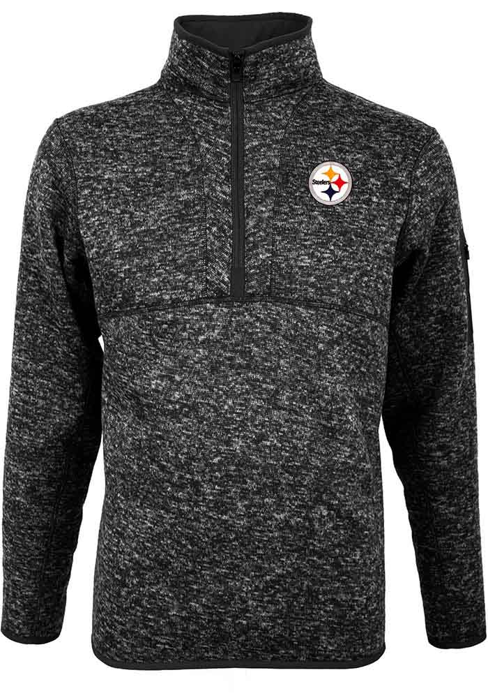 Antigua Pittsburgh Steelers Mens Black Fortune Long Sleeve 1/4 Zip Pullover, Black, 100% POLYESTER, Size XL