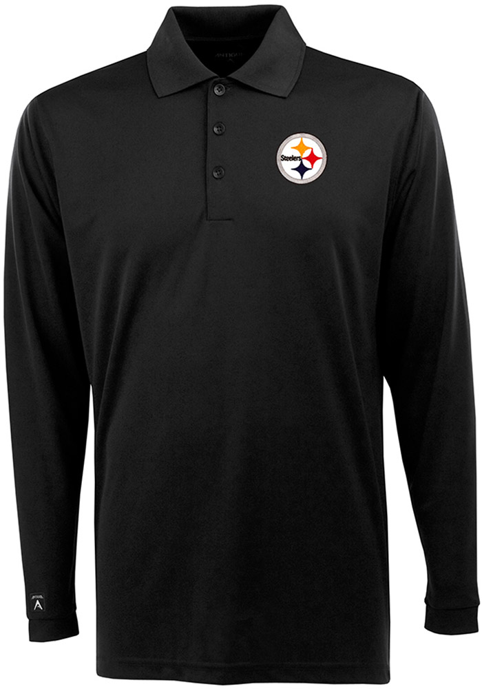 Antigua Pittsburgh Steelers Mens Black Exceed Long Sleeve Polo Shirt - Image 1